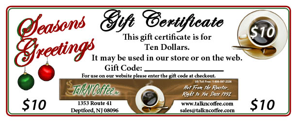 $10 Seasons Greetings Coffee Gift Certificate