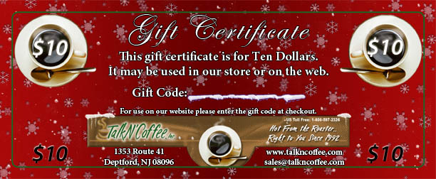$10 Holiday Gourmet Coffee Gift Certificate