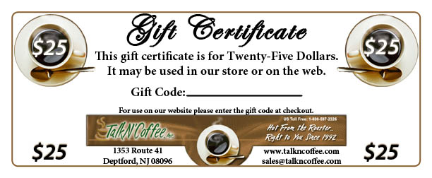$25 Standard Coffee Gift Certificate