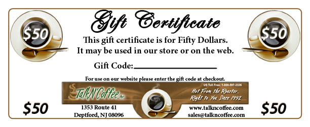 $50 Standard Coffee Gift Certificate