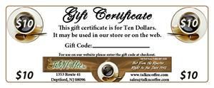$10 Gourmet Coffee Gift Certificate