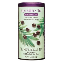 Can of Republic of Tea Acai Green Tea with 50 unbleached tea bags