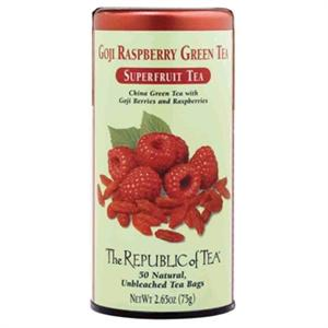 Can of Republic of Tea Goji Raspberry Green Tea with 50 unbleached tea bags