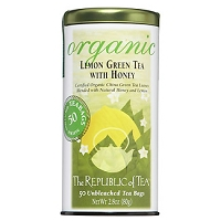 Organic Honey Lemon Green Tea by Republic of Tea in a Can with 50 Tea Bags