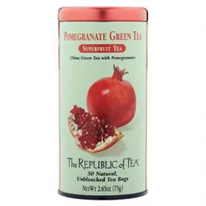 Can of Republic of Tea Pomegranate Green Tea with 50 unbleached tea bags