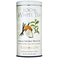Can of Republic of Tea Vanilla Coconut White Tea with 50 unbleached tea bags