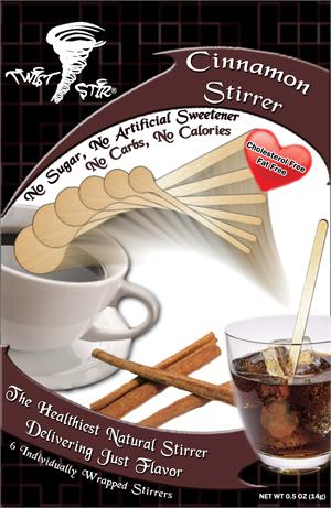 Wood stirrer with Cinnamon Flavor Infused in the wood