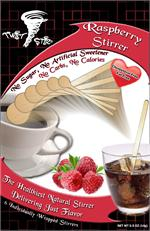 Wood stirrer with Raspberry Flavor Infused in the wood