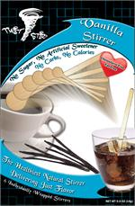 Wood stirrer with Vanilla Flavor Infused in the wood