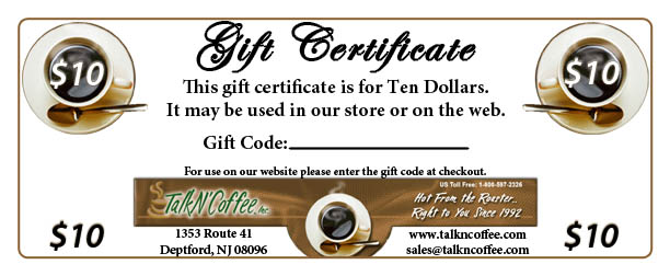 $10 Standard Coffee Gift Certificate