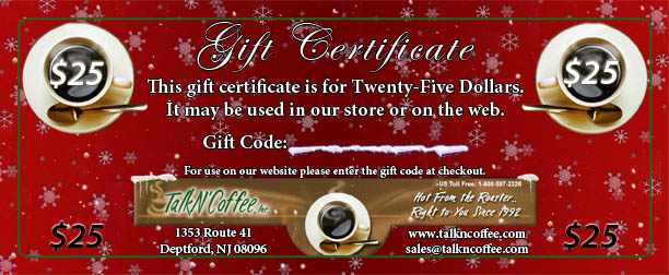 $25 Holiday Gourmet Coffee Gift Certificate